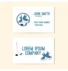 Business card with emblem hockey - skates stick vector image