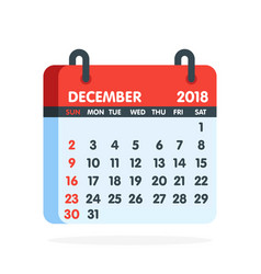 calendar for 2018 year full month december icon vector image