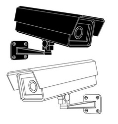 cctv security camera black and white outline vector image