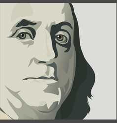 close up view ben franklin vector image
