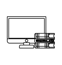 computer desktop with ebooks isolated icon vector image