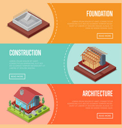 Countryside house building posters set vector