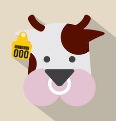 Cute Cow Head With Ear Tag vector