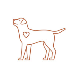 cute dog with heart flat vector image