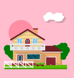 cute residential house vector image