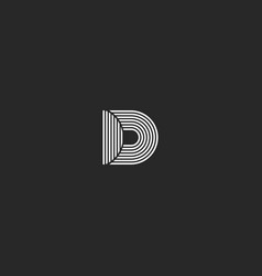 d letter logo monogram simple lines black and vector image