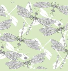 Damselfly dragonfly hand drawn seamless pattern vector
