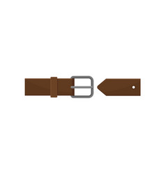 Dark brown men belt with gray metal buckle vector