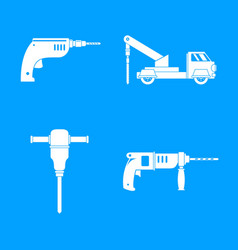 Drilling machine electric icons set simple style vector