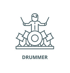 Drummer line icon linear concept outline vector