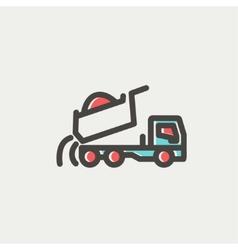 Dump truck thin line icon vector image