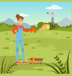 Farmer woman harvesting fresh vegetables vector