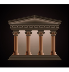 Front view of an antique greek temple in the vector