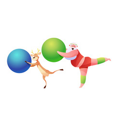 funny santa and reindeer doing sport vector image
