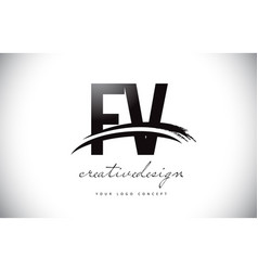 Fv f v letter logo design with swoosh and black vector