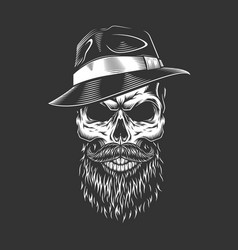 Gangster skull in fedora hat vector