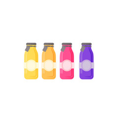 glass juice bottle with label template vector image