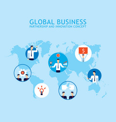 global communication social network partnership vector image
