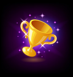 gold champion trophy cup goblet with sparkles vector image