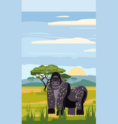 Gorillas cute cartoon style in background savannah vector
