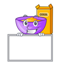 Grinning with board cereal box in a cartoon bowl vector
