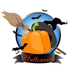 Halloween logo design with witch hat pumpkin vector