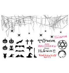 halloween photo booth props with free hand text vector image