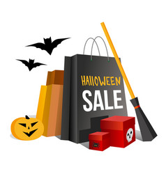 Halloween shopping paper bags and pumpkin vector