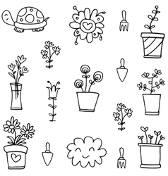 Hand draw of spring doodle set vector