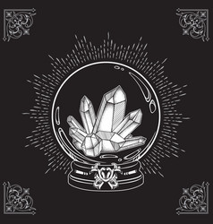 Hand drawn magic crystal ball with gems line art vector