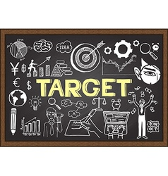 Hand drawn target on chalkboard vector image
