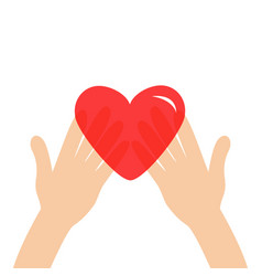 hands arms holding red shining heart shape sign vector image