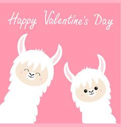 happy valentines day llama alpaca set face neck vector image