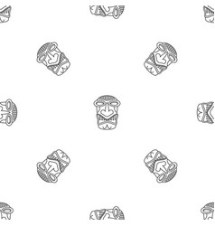 hawaii wood idol pattern seamless vector image