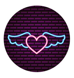 heart wings neon brick wall vector image