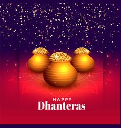 Hindu festival happy dhanteras sparkle vector