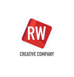 initial letter rw logo template design vector image