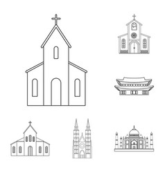 Isolated object of religion and wedding sign set vector