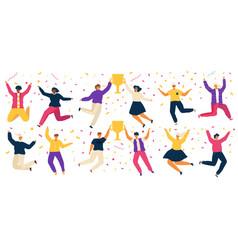 jumping people happy carton characters award vector image