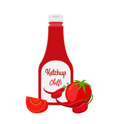 Ketchup bottle with tomatoes chilli pepper vector
