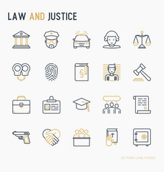 Law and justice thin line icons set vector