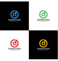 letter d in circle logo icon flat design vector image