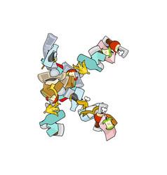 letter k rubbish trash font garbage alphabet vector image