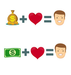 Love and money icon vector