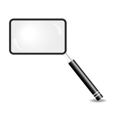 Magnifying glass in shape of square vector