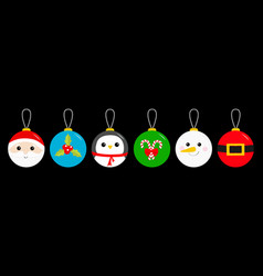 merry christmas ball toy hanging icon set santa vector image