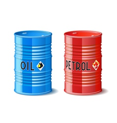 Metal barrels with oil and petrol vector