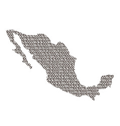 mexico map abstract schematic from black ones and vector image