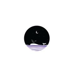 Midnight scene whale sign symbol vector