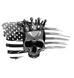 Monochromatic skull and flag usa vector
